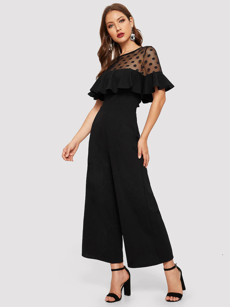 Dot Mesh Sheer Yoke Jumpsuit