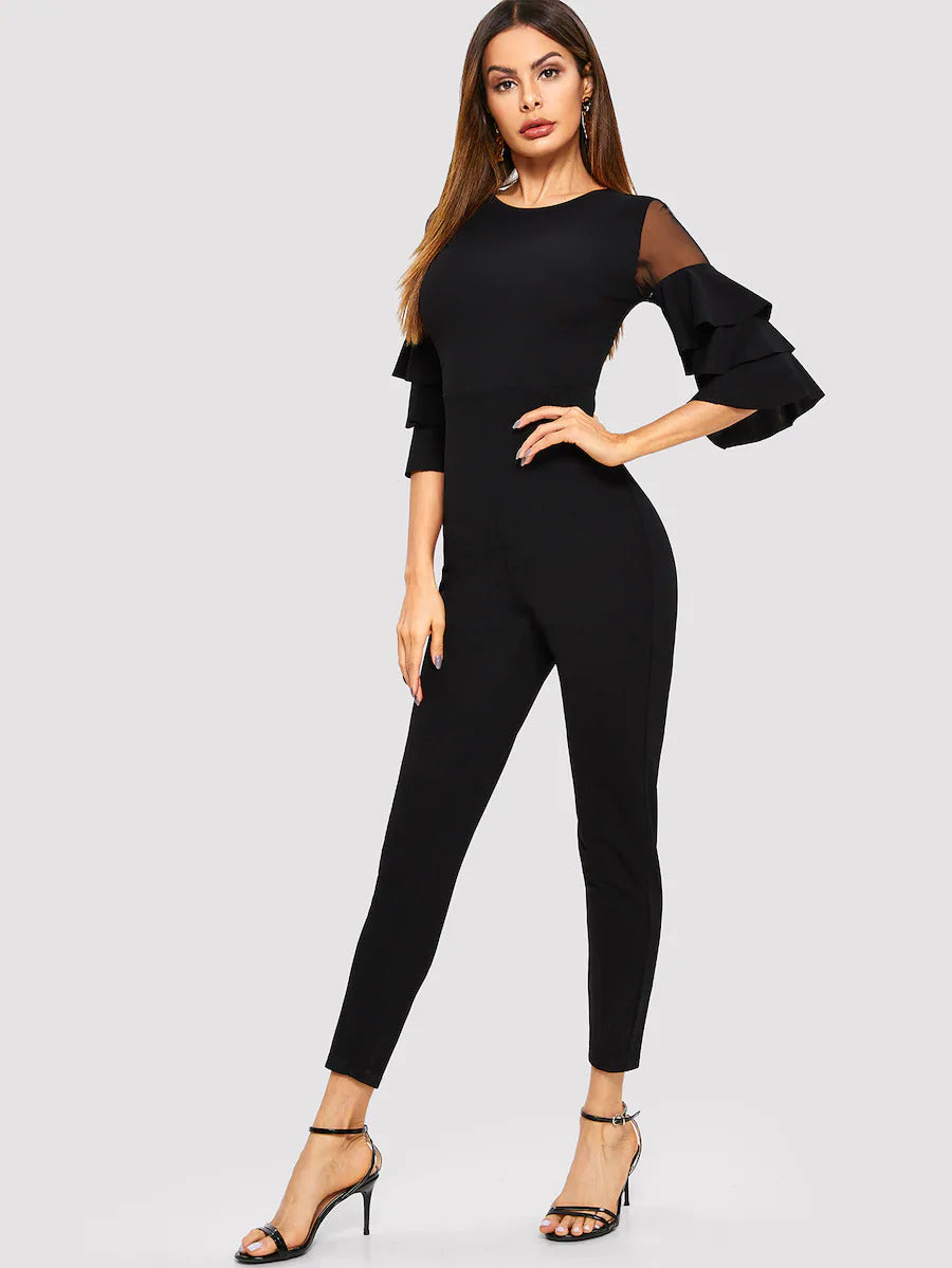 Mesh Insert Tiered Sleeve Jumpsuit