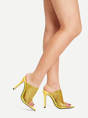 Peep Toe Clear Stiletto Mules