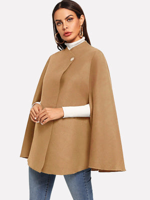 Single Button Cape Coat