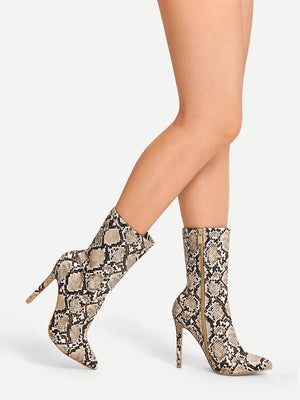 Snakeskin Side Zipper Stiletto Boot