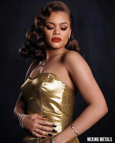 Andra Day in Julie Mollo gold romper