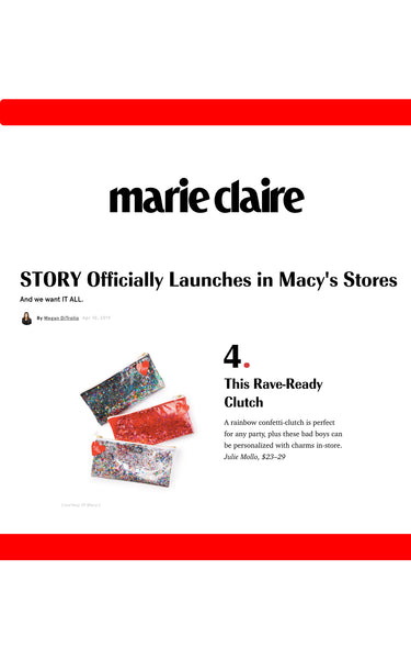 marie claire magazine fashion press glitter clutches, story at macys, confetti clutch, custom clutch with confetti, rainbow clutch, macys