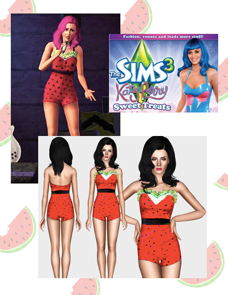 Katy Perry's strawberry romper featured in The Sims 3 by Julie Mollo