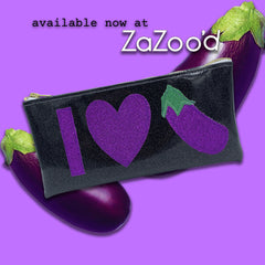 Glitter Eggplant Cosmetic Case by Julie Mollo