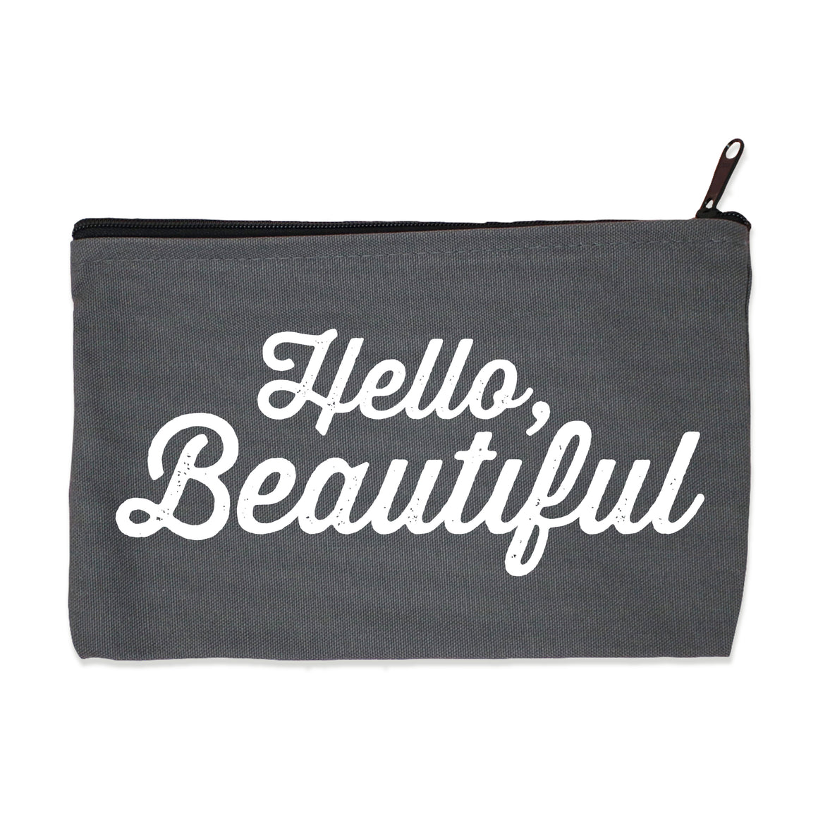 hello beautiful | zip pouch gray