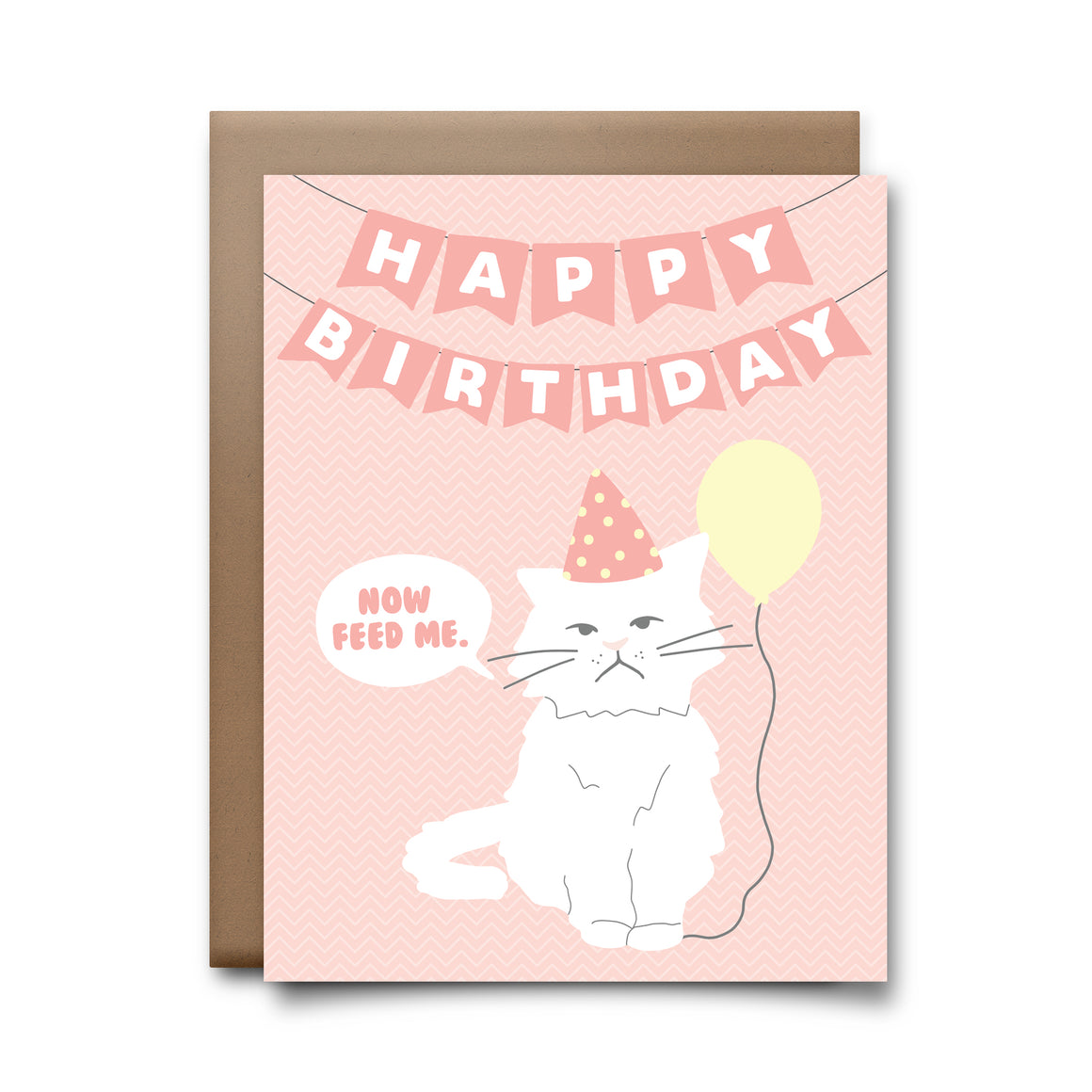 hbd feed me cat | greeting card