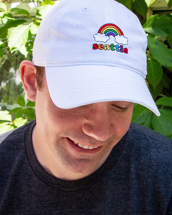 seattle rainbow | white | dad hat