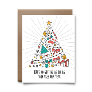 lit tree | greeting card
