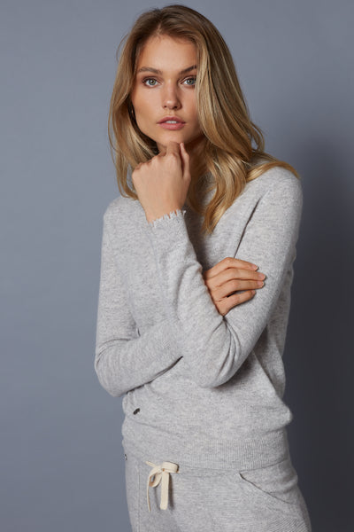 The Frayed Cuff Sweater in Flint