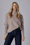 The Slouchy Rib Turtleneck in Toast