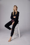The Frayed Cuff Lounge Pants in Black