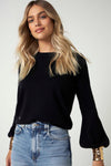 The Sequin Cuff Sweater in Black