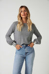 The Sequin Cuff Sweater in Grey