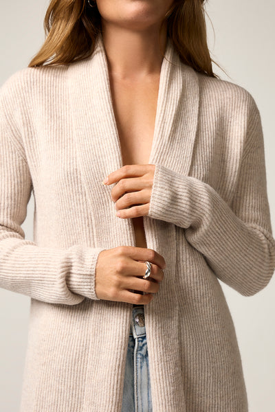 The Ribbed Cardigan in Sand