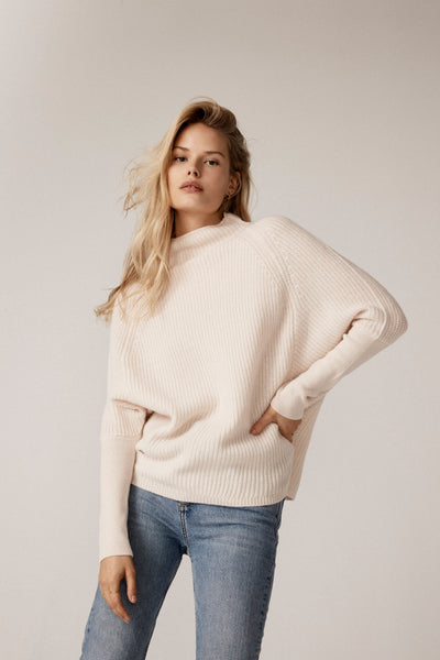 The Slouchy Rib Turtleneck in Feather
