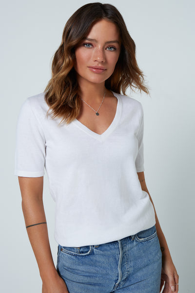The V Tee Top in White