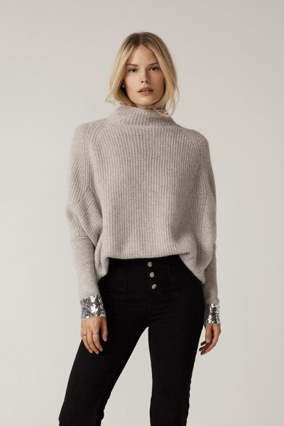 The Sequin Slouchy Rib Turtleneck in Flint