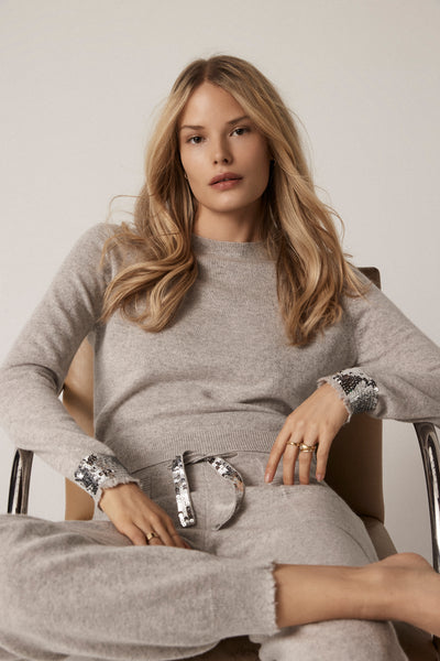 The Sequin Frayed Cuff Sweater in Flint