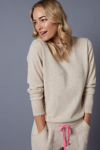 The Frayed Cuff Sweater in Oatmeal