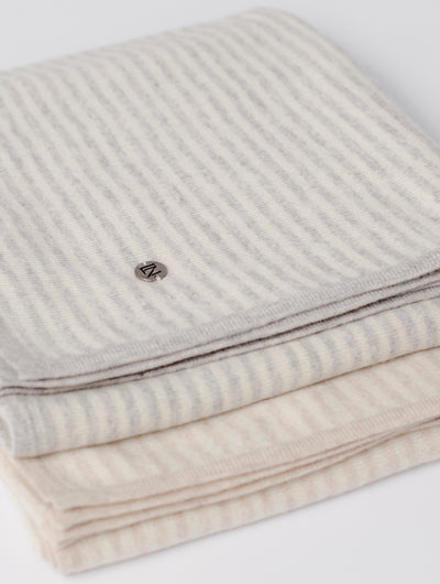 Striped Blanket in Grey & Ivory