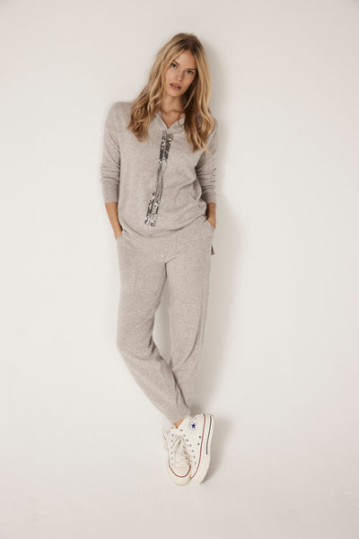 The Sequin Frayed Cuff Lounge Pants in Flint