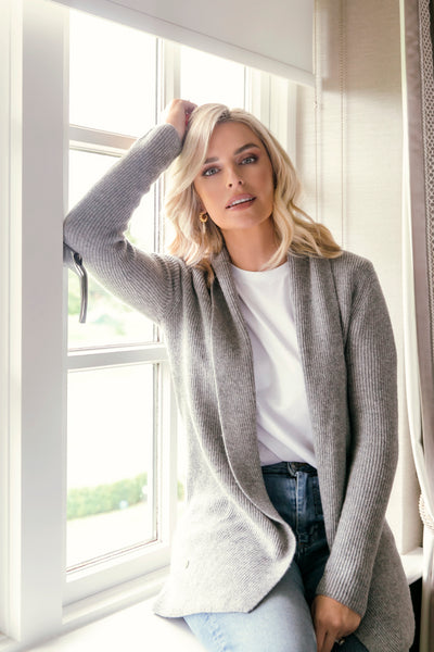 The Ribbed Cardigan in Grey