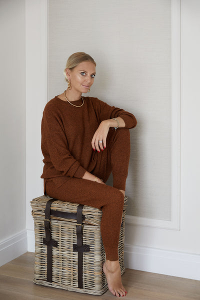 The Waffle Sweater in Brown