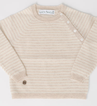 Striped Button Sweater in Oatmeal & Ivory