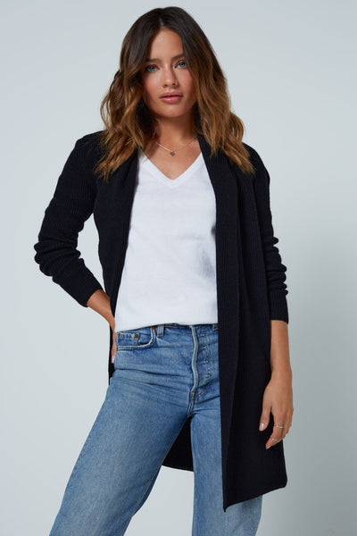 The Ribbed Cardigan in Black