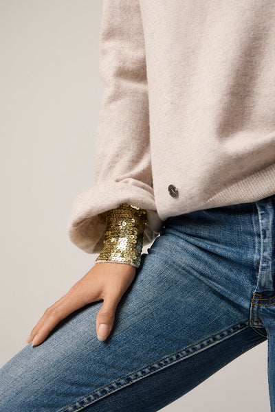 The Sequin Cuff Sweater in Sand