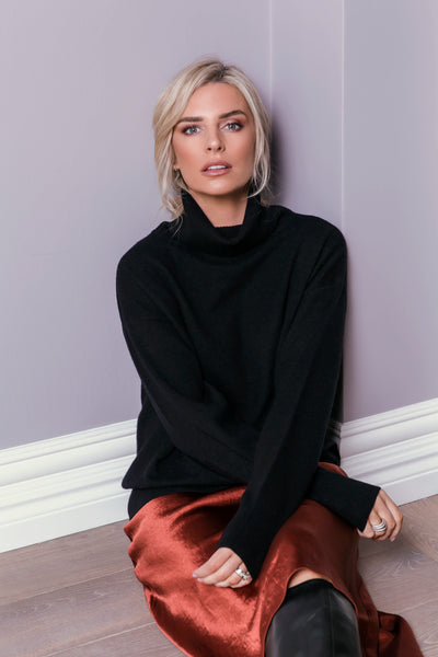 The Oversized Roll Neck Sweater in Black
