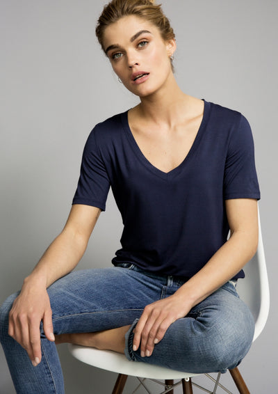 lucy nagle navy v-neck cotton t-shirt