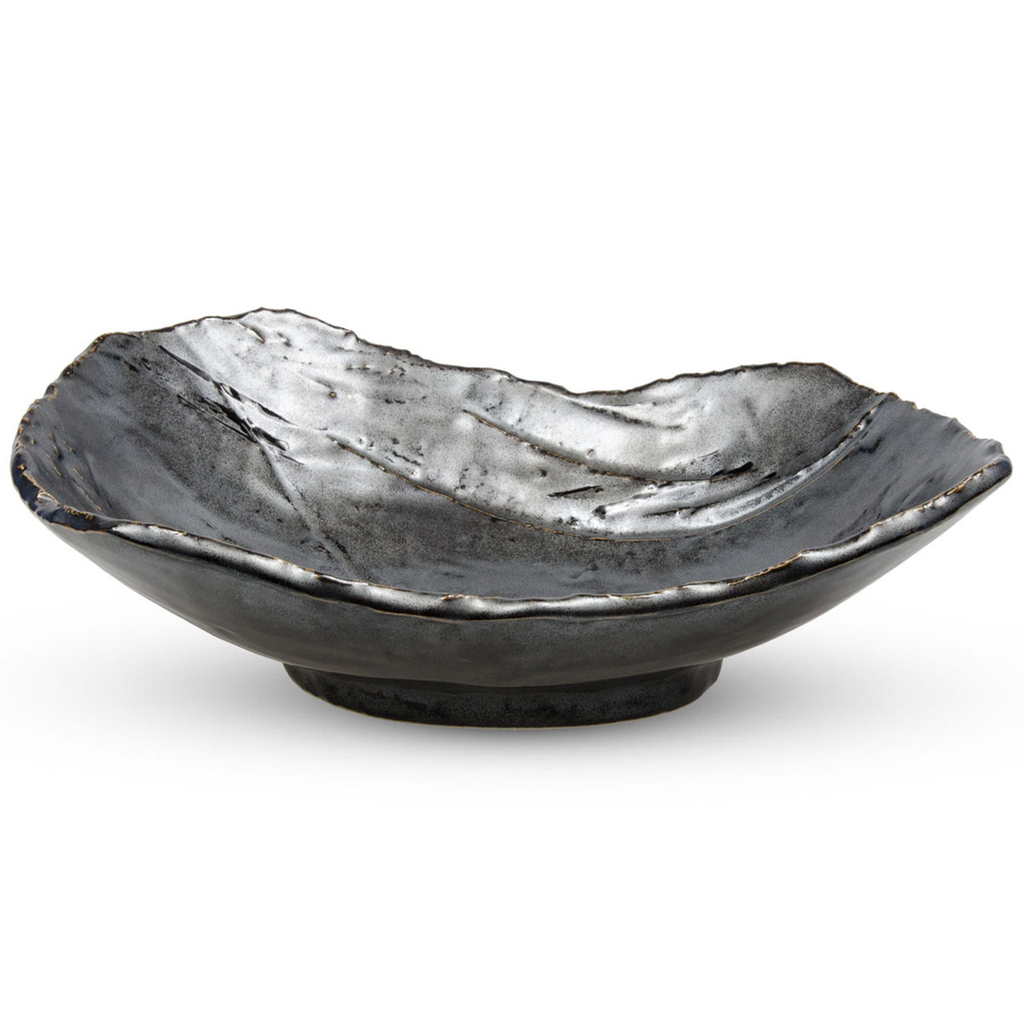"Tessa Black Shallow Abstract Bowl 8.5""L x 6.5""W x 2.5""H - 16 oz"