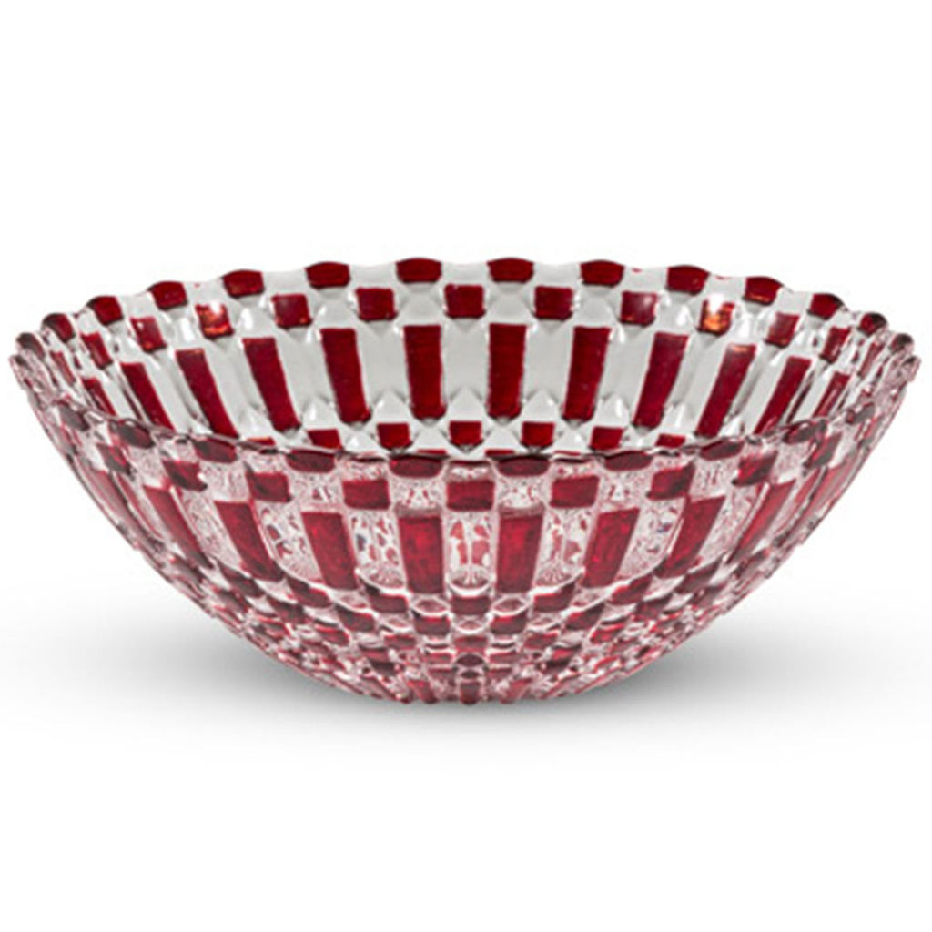 Decor Red Checked Round Glass Bowl 20 oz
