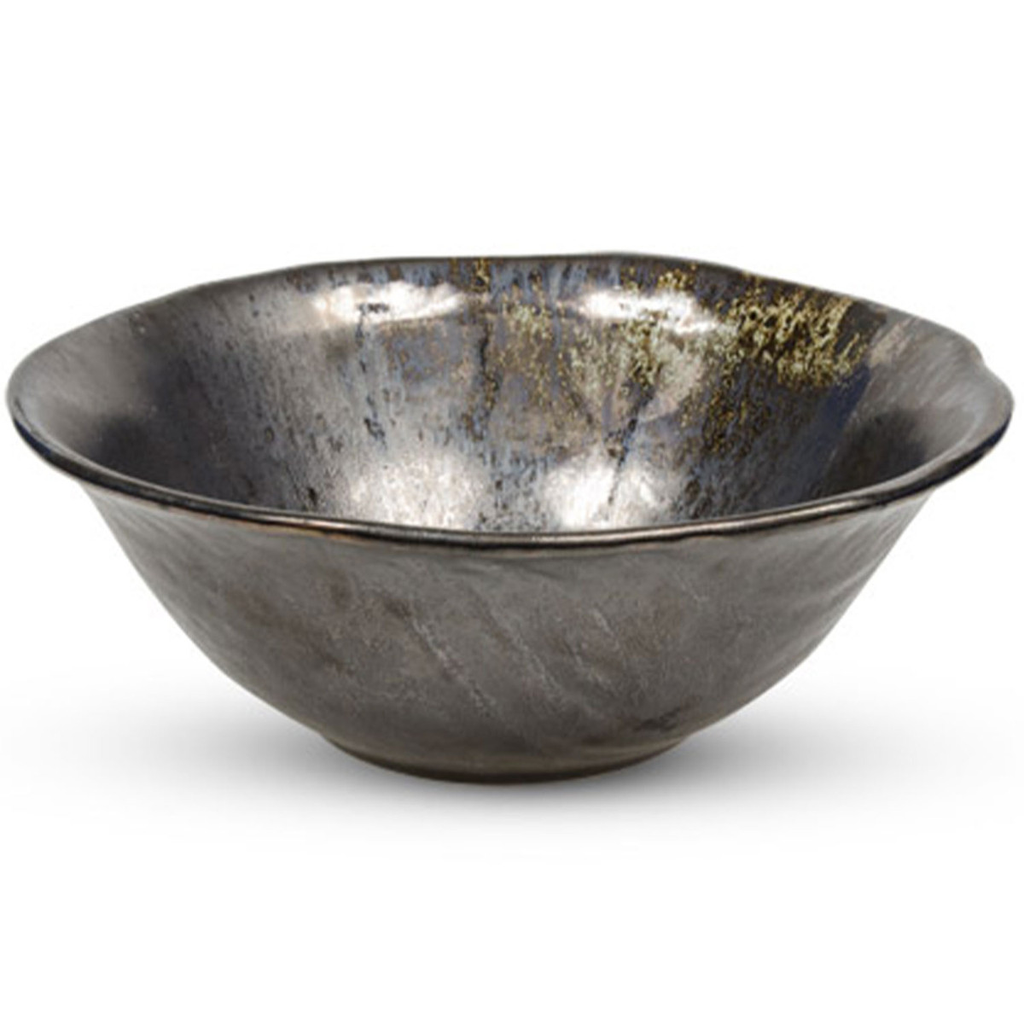 Metallic Slate Gray Round Bowl