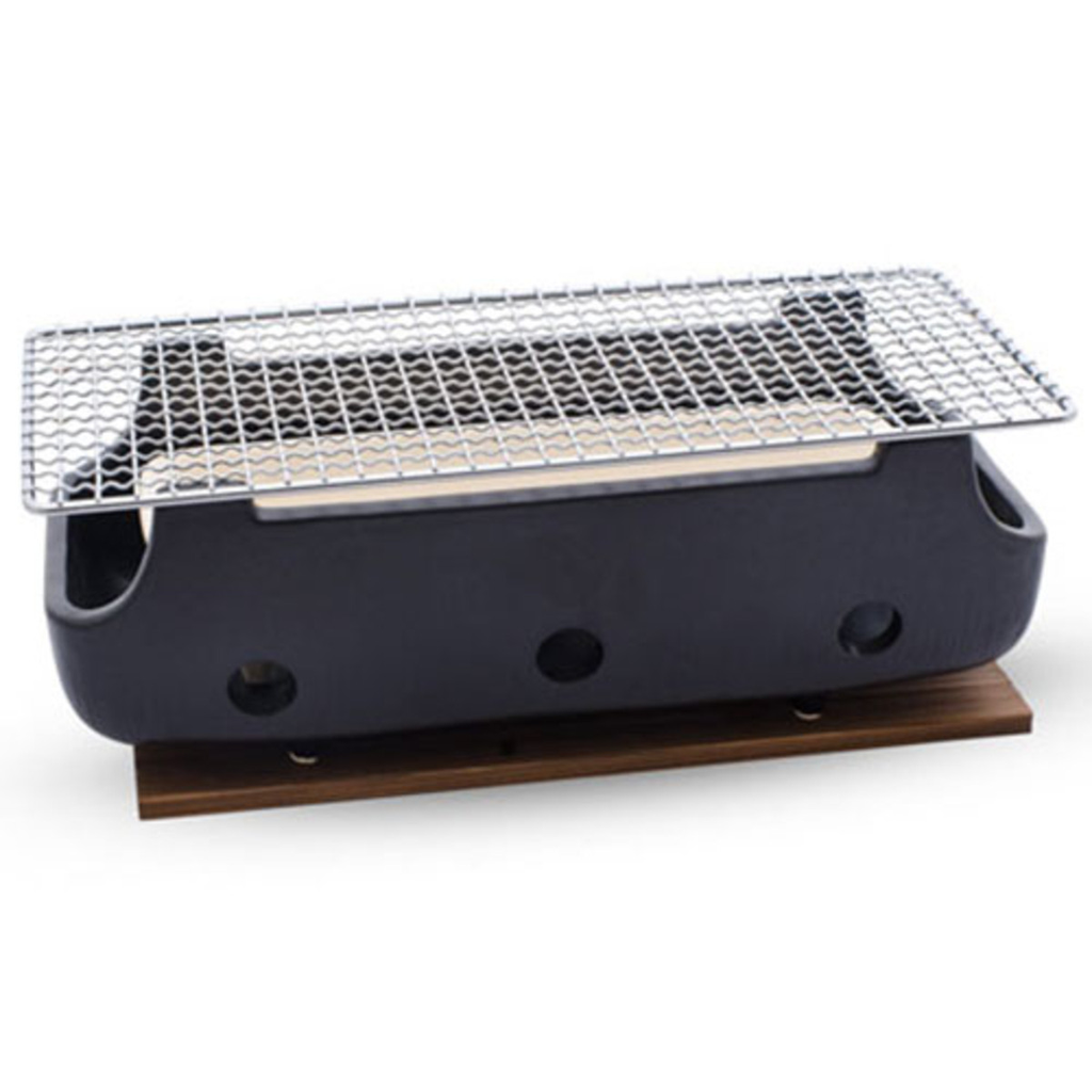 Black Rectangular Charcoal Konro Grill