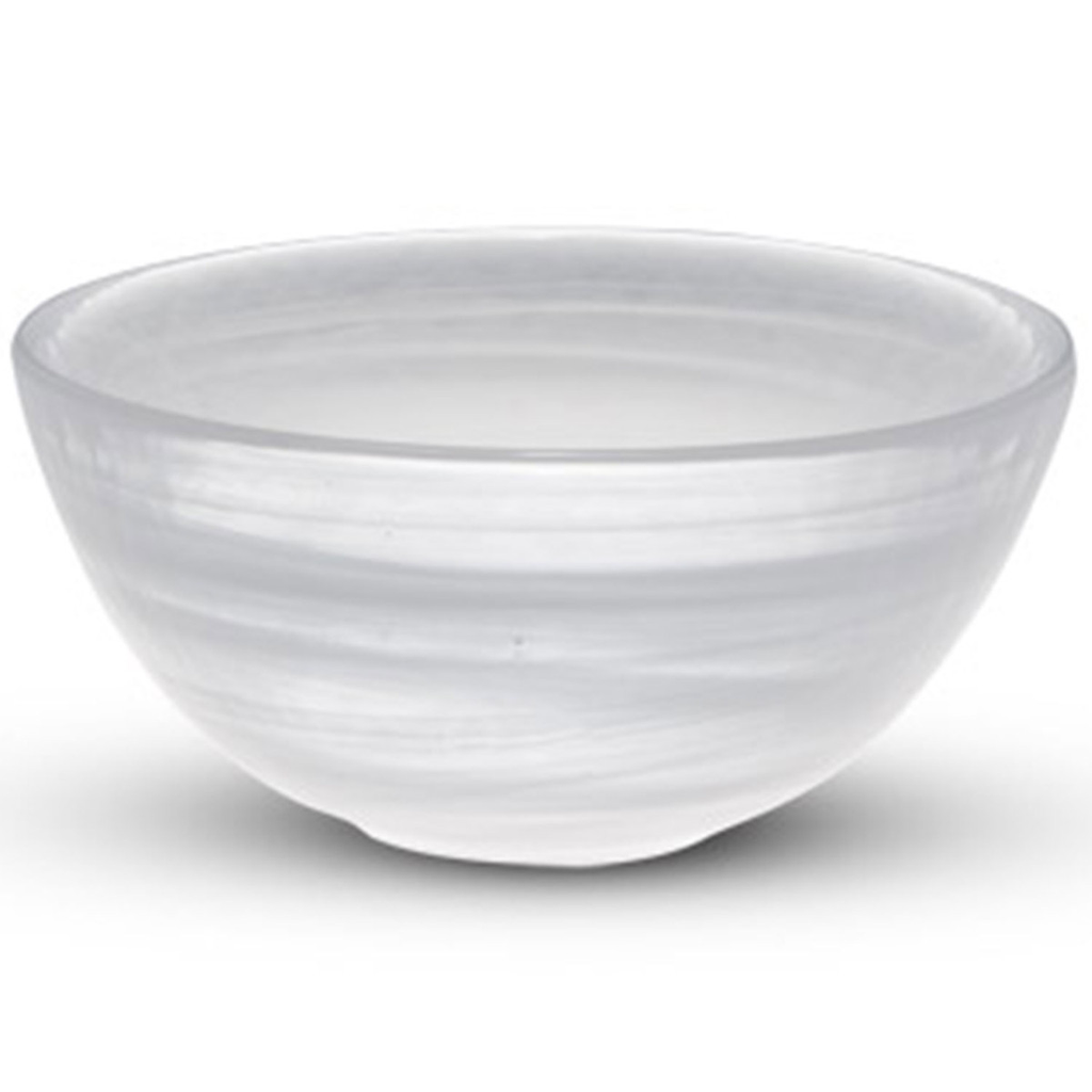 Cloud White Glass Round Bowl 13 oz