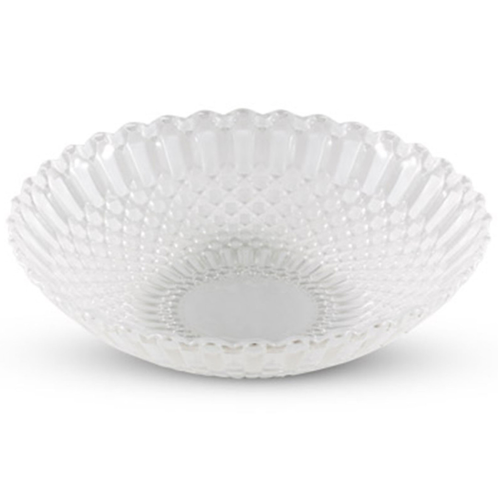 Decor White Checked Round Glass Coupe Bowl 14 oz
