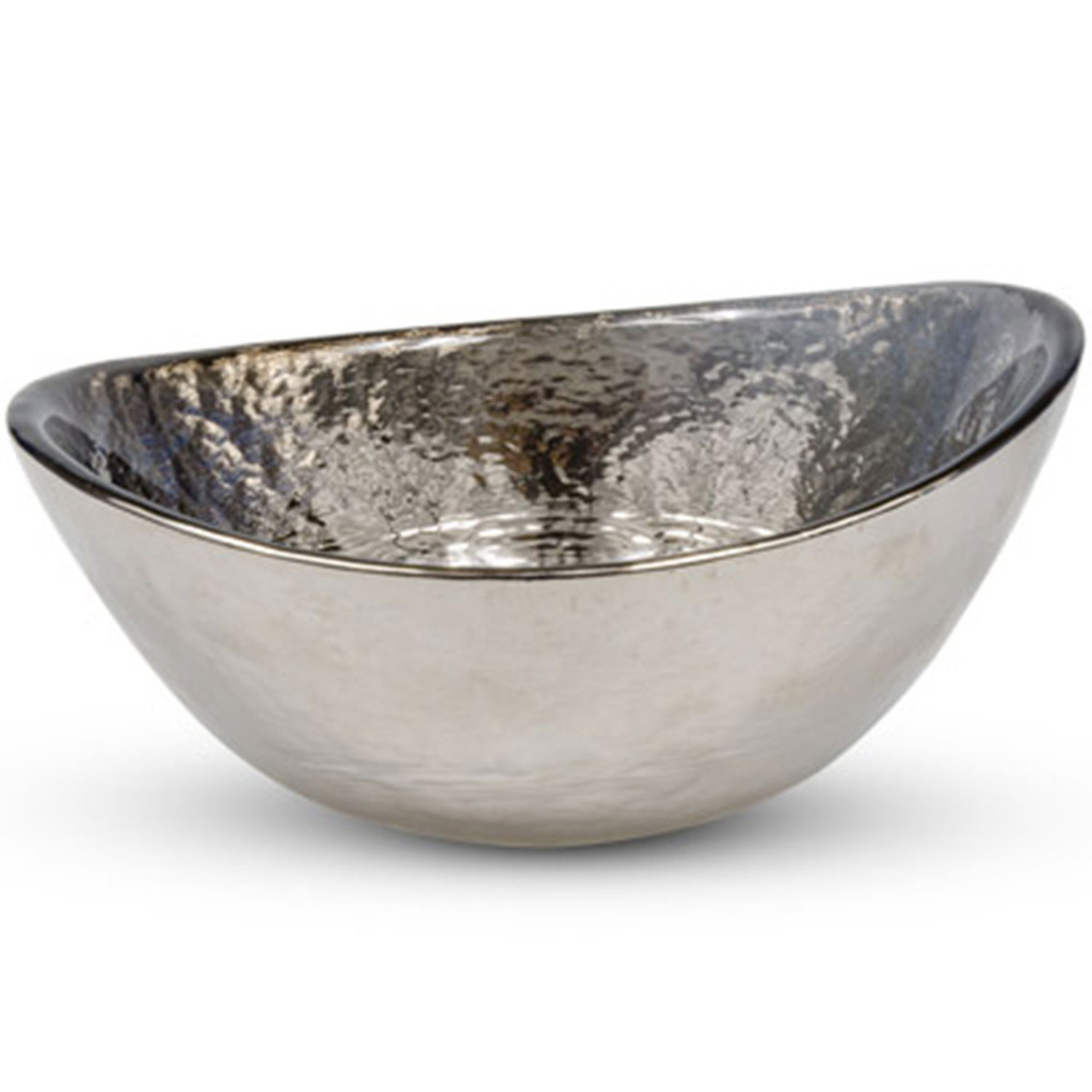 Silver Ink Oval Bowl 7 oz