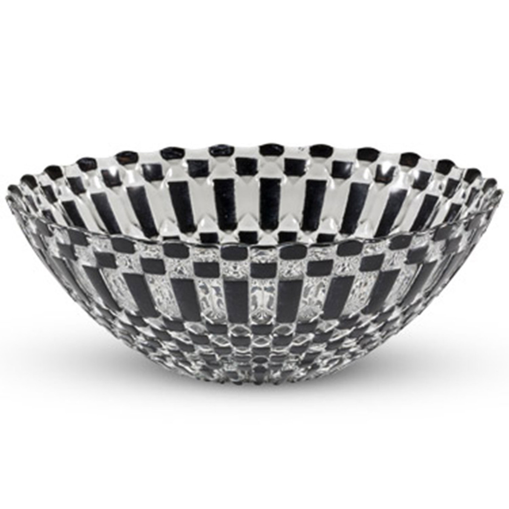 Decor Black Checked Round Glass Bowl 20 oz