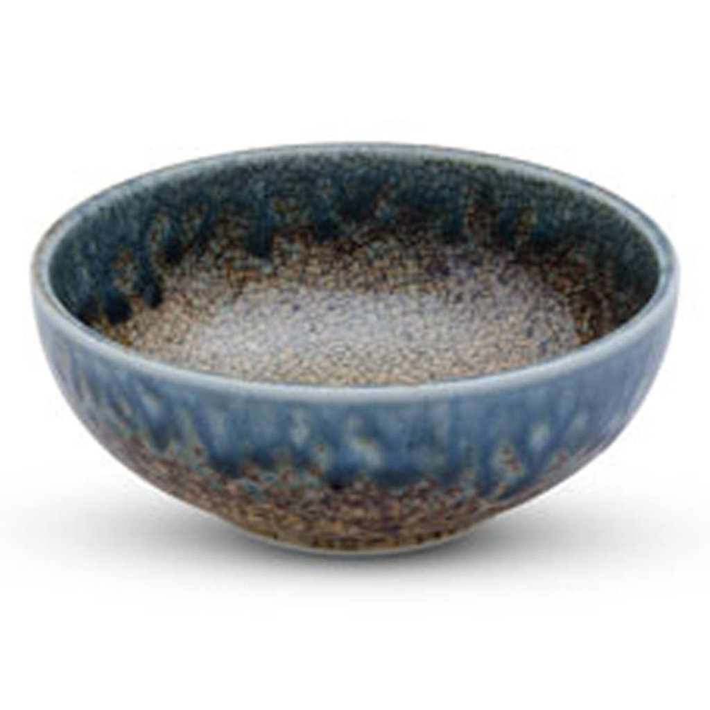 Brown Mosaic Blue Rimmed Small Bowl