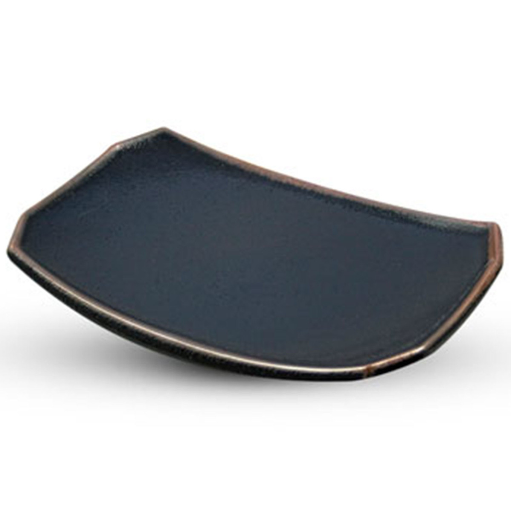Yuzu Tenmoku Black Rectangle Plate