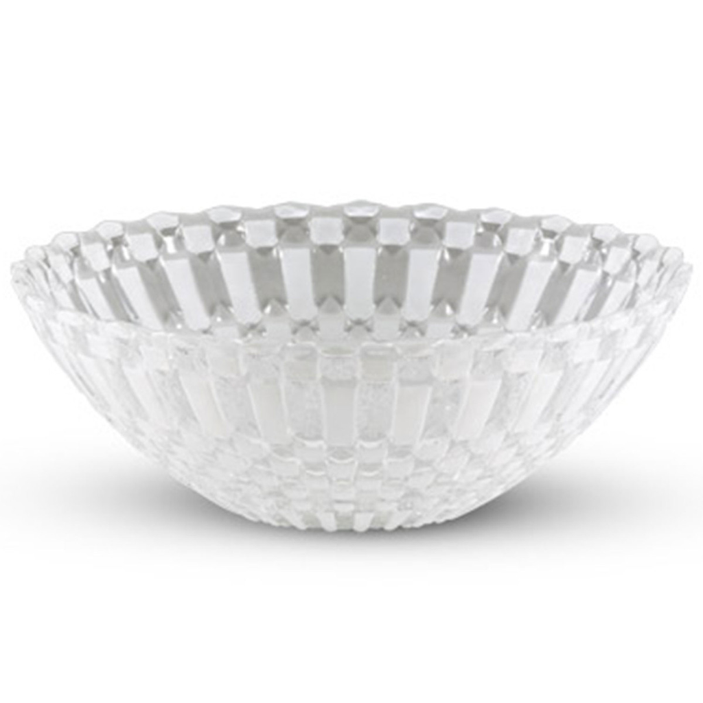Decor White Checked Round Glass Bowl 20 oz