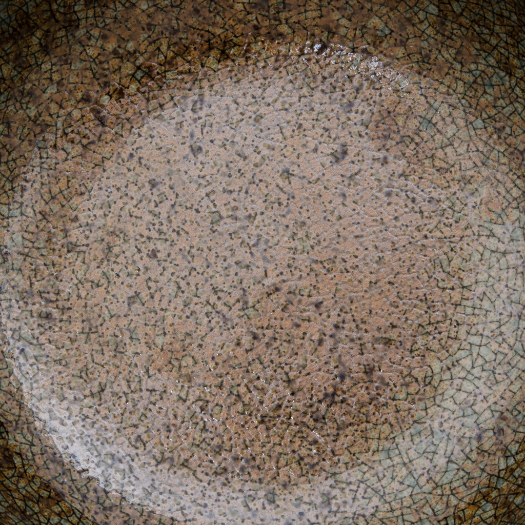Brown Mosaic Blue Rimmed Shallow Bowl