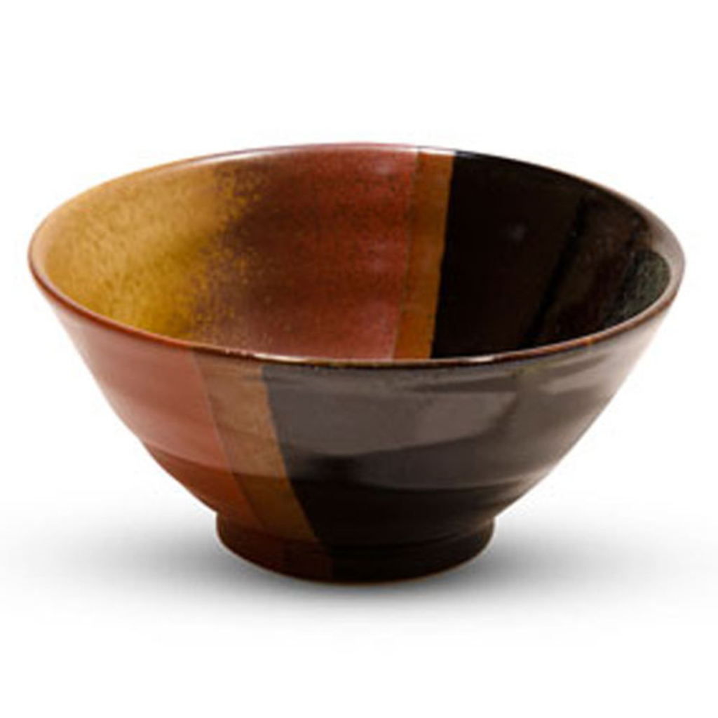 Akebono Tenmoku Black And Amber Rice Bowl 12 oz