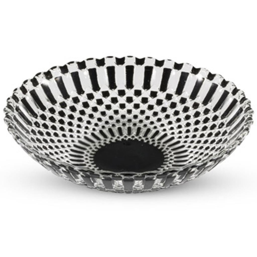 Decor Black Checked Round Glass Coupe Bowl 14 oz