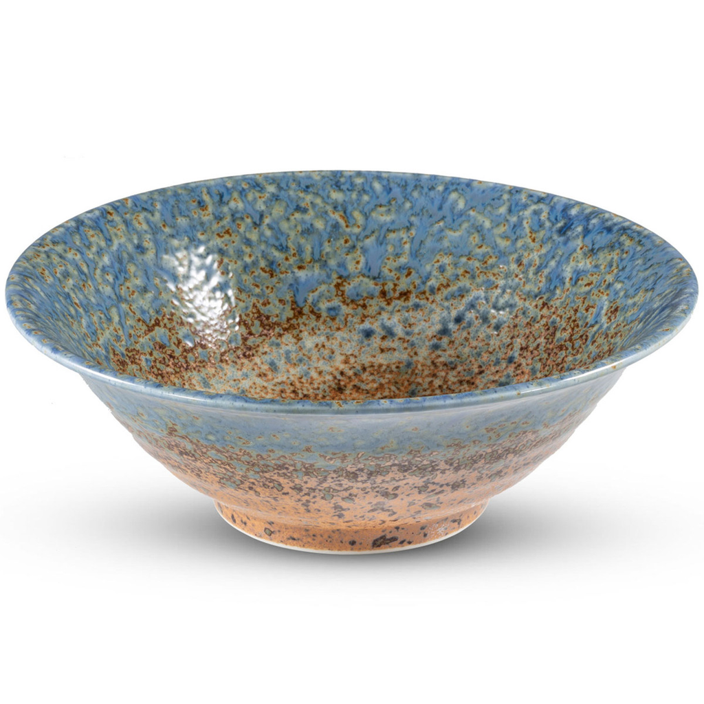 Ainagashi Blue Brown Round Bowl 34 oz