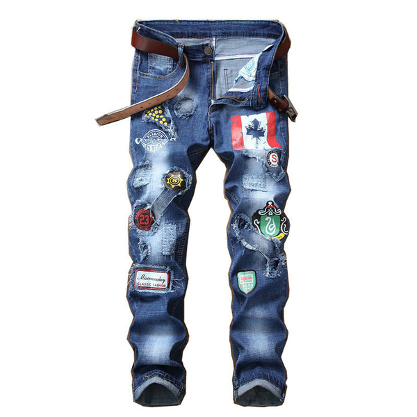32ca1d55 2018 New Fasgion Men's Jeans Patchwork Spliced Ripped Denim Jeans Male  Straight Slim Patch Beggar Hole