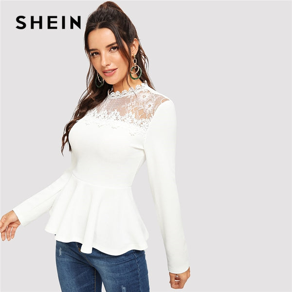 5c68bc23d7 SHEIN White Stand Collar Long Sleeve Lace Mesh Insert Peplum Top Blouses  Women 2018 Elegant Spring